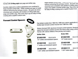 Zodiac Forward Control Spacers