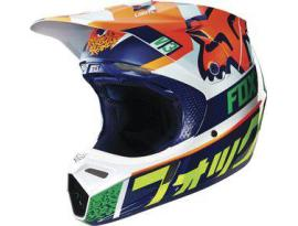 Fox V3 Divizion Orange/Blue Helmet 2016 - Youth