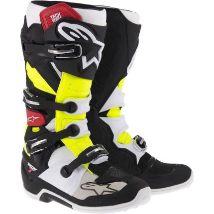 Alpinestars Tech 7 Yellow Red Black Boots 2017 - Adult