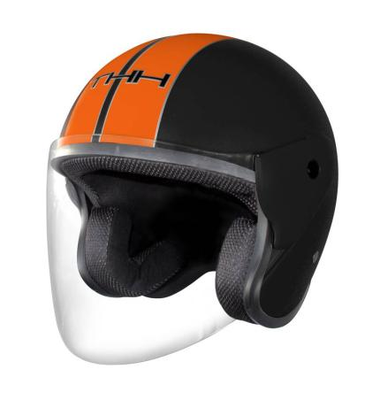 THH T-373 Matte Black Orange Helmet