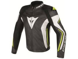 Dainese Assen Leather Black White Yellow Jacket