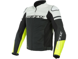 Dainese Agile Black White and Yellow Leather Jacket