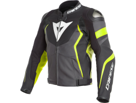 Dainese Avro 4 Matte Black Charcoal Grey and Fluro Yellow Leather Jacket