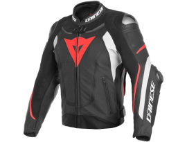 Dainese Super Speed 3 Black White Fluro Red Leather Jacket