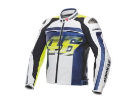 Dainese VR46 D1 Pelle White Blue Yellow Jacket