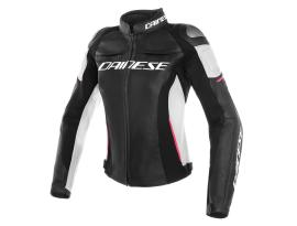 Dainese Racing 3 Ladies Black White Pink Leather Jacket