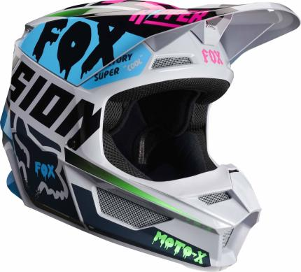 Fox 2019 Youth V1 Czar Light Grey Helmet