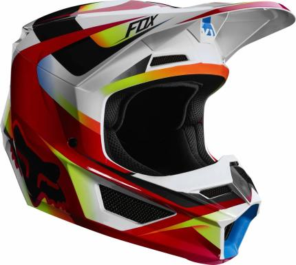 Fox 2019 Youth V1 Motif Red White Helmet