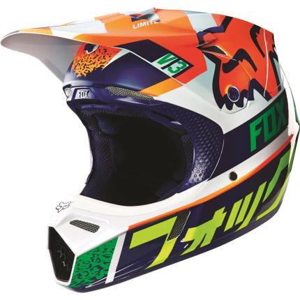 Fox V3 Division Orange/Blue Helmet 2016