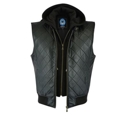 Johnny Reb Rocky Valley Black Leather Vest with Hood