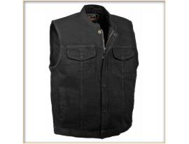 Milwaukee Men's Concealed Snap Denim Club Vest with Hidden Zipper- Black