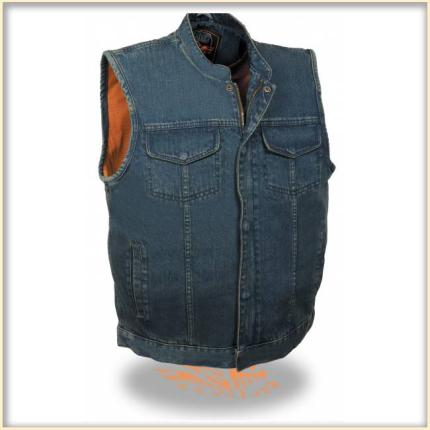 Milwaukee Men's Concealed Snap Denim Club Vest with Hidden Zipper- Blue
