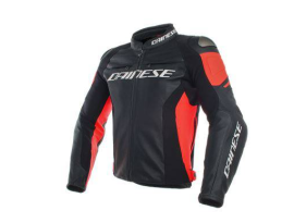Dainese Racing 3 Black Fluro Red Leather Jacket