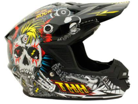 THH Youth TX-15 Rock N Roll Black Blue Red Helmet