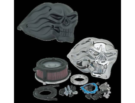 Zodiac Skull Air Cleaner Kit 99-07 Big Twin, Twincam CV/Delphi - Black