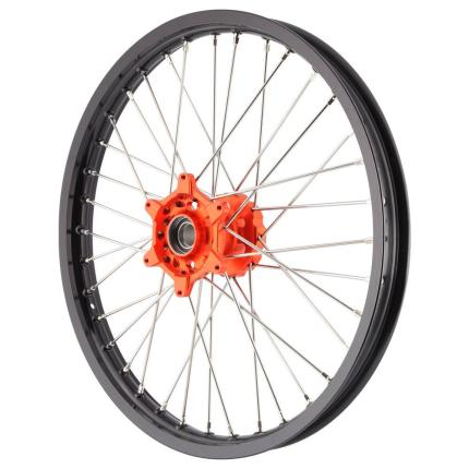 X Tech MX Mini Wheel Front KTM85 2012 UP Black Rim Orange Hub Silver Spokes 17 X 1.40
